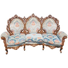 Victorian Style Carved Walnut Sofa