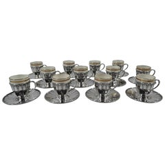 Set of 12 Tiffany Art Deco Demitasse Holders and Lenox Liners