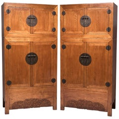 Pair of Chinese Double Dragon Compound Cabinets, c. 1830s