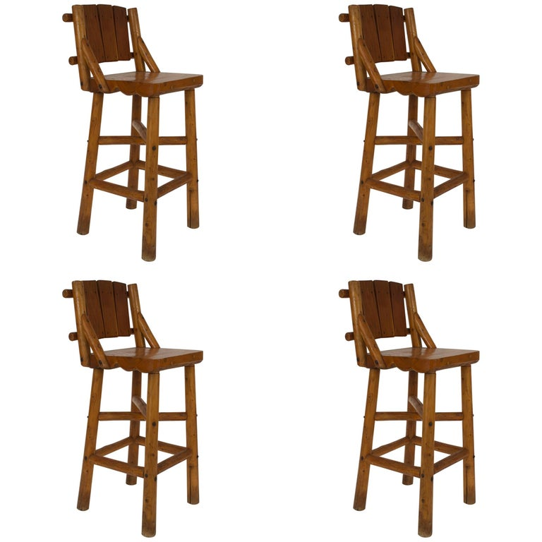 Set of Four Old Hickory Pine Bar Stools by Rittenhouse