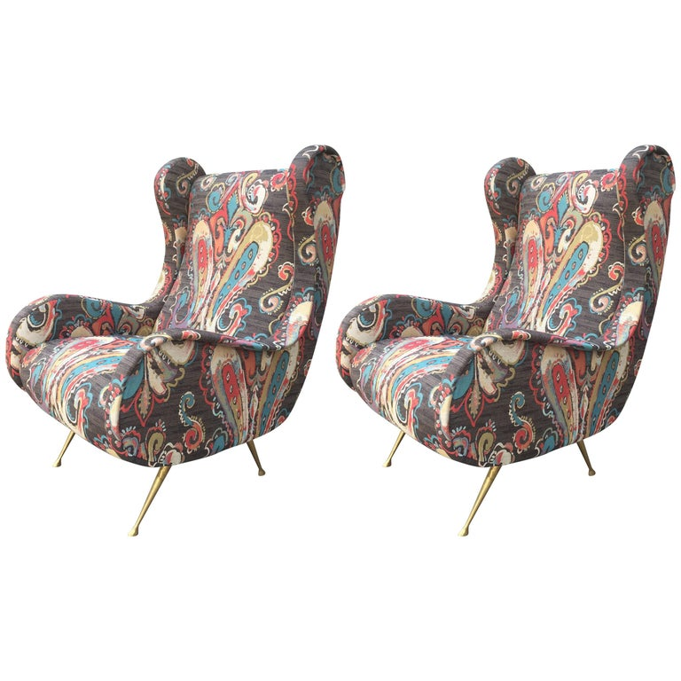 Pair of Zanuso Style Vintage Italian Armchairs For Sale