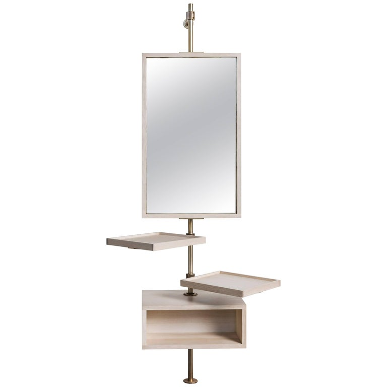 Amuneal's Loft Mirror and Bleached Oak Console with Champagne Brass Fittings