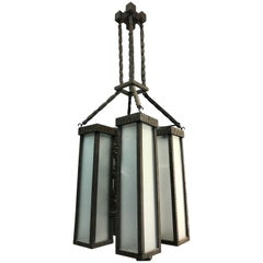 Industrial Design Hand-Carved Wooden Art Deco Pendant Light Faux Wrought Iron