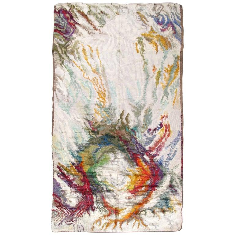 Vintage Rya Handmade Carpet, Multicolor Wool Carpet-Colorful, Vibrant, White