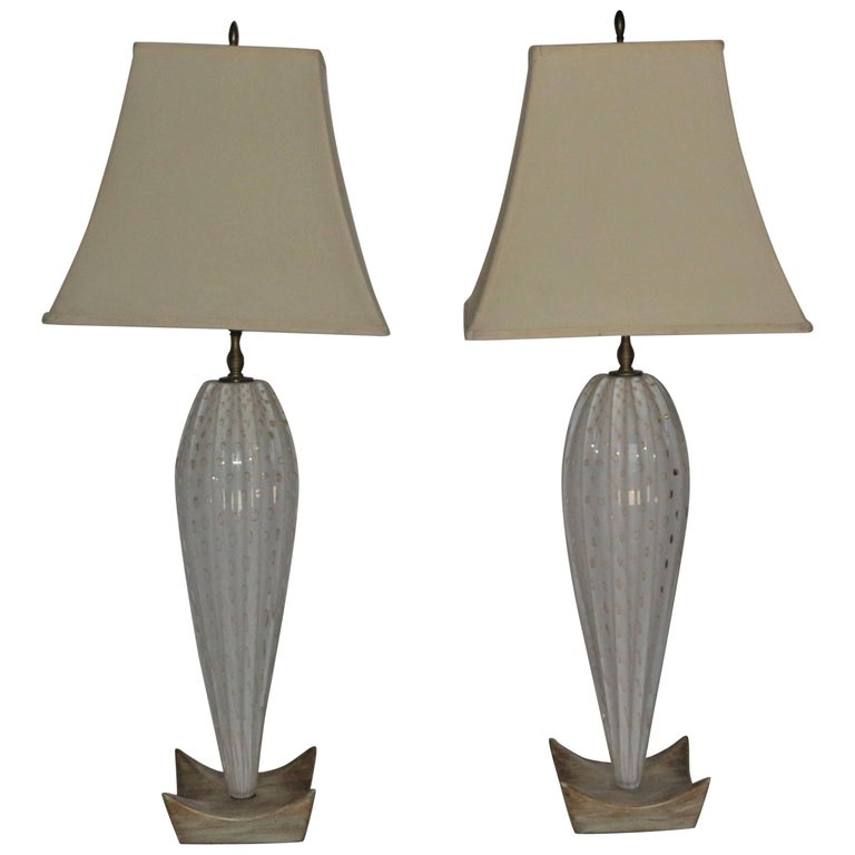 Pair of White Mid-Century Murano Lamps with a Unique Wooden Base and Gold Accent 1
