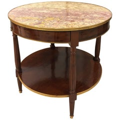 French Mid-19th Century Mahogany Gueridon Table Signed by Escalier de Cristal