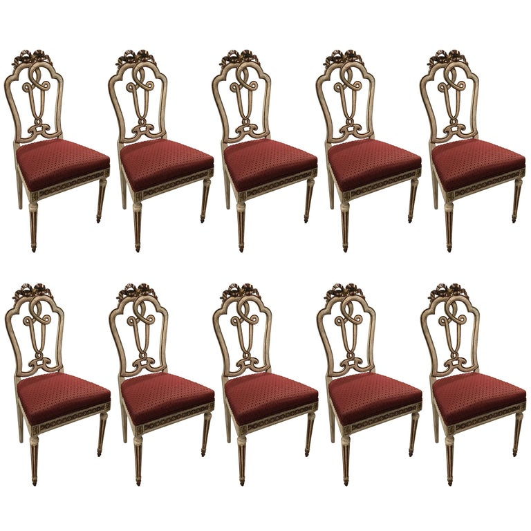 Set of Ten Venetian 18th Century Painted and Gilt Trimmed Side Chairs