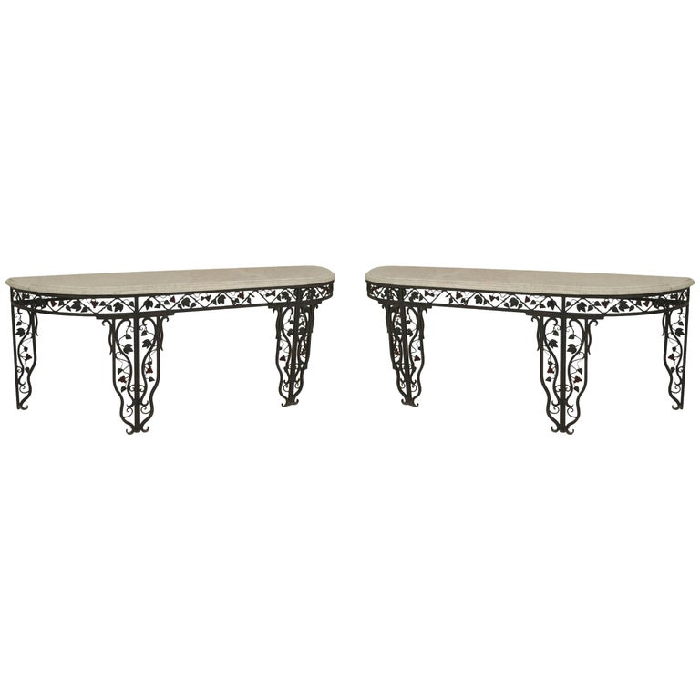 Pair of French 1940s Wrought Iron Console Tables
