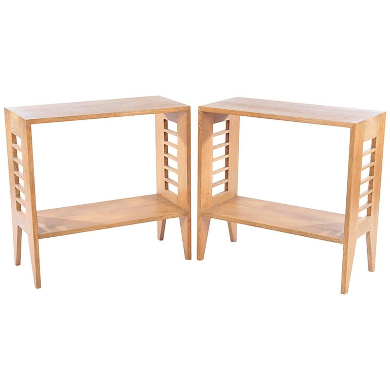 Pair of Sculptural French Modernist Cerused Oak Consoles 1