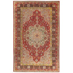 Early 20th Century Antique Turkish Oushak Rug with Floral Motifs and Medallion