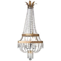 18th Century Italian Empire Iron, Crystal and Tole Basket Chandelier
