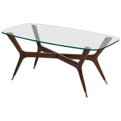 Gio Ponti Italian Walnut and Glass Coffee Table, Italy, 1950s