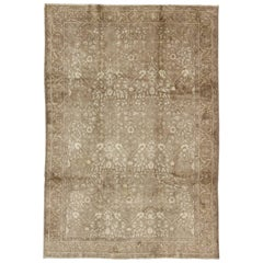 Midcentury Vintage Turkish Oushak Rug with All-Over Botanical Pattern in Taupe