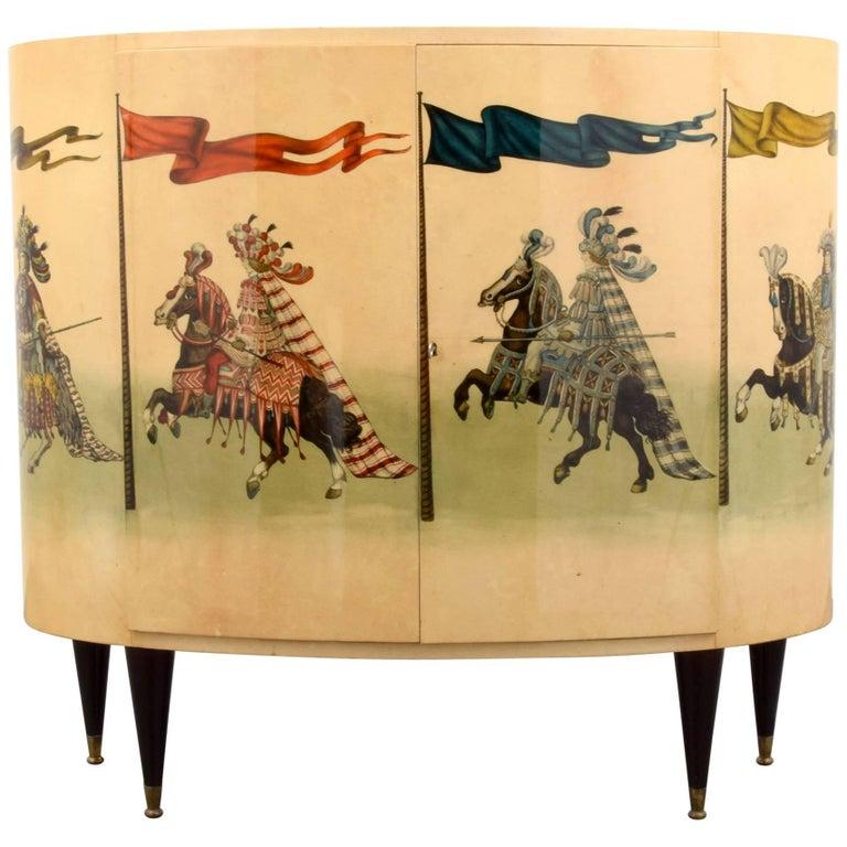 Italian 1960s Lacquered Parchment Bar Cabinet by Aldo Tura