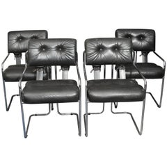 Set of Four Italian Leather and Chrome Chair