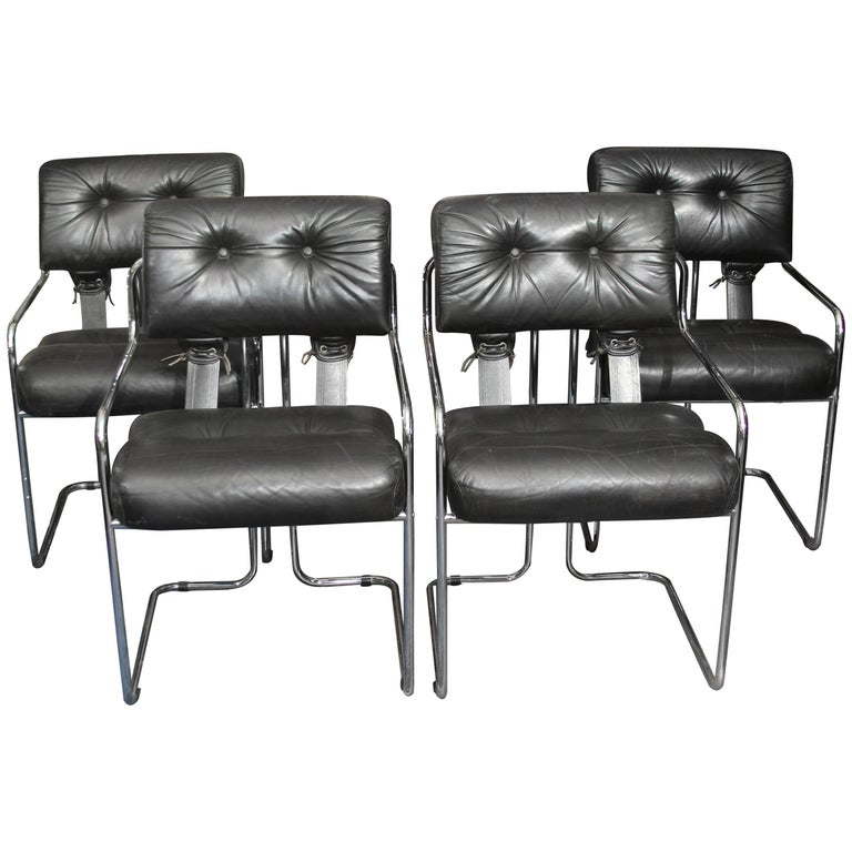 Set of Four Italian Leather and Chrome Chair For Sale
