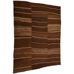 Large Turkish Flat-Woven Brown Kilim Rug