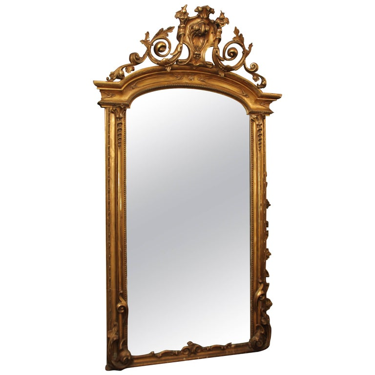 Large Ornate Floor Mirror For Sale