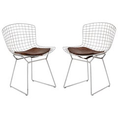 Vintage Pair of White Bertoia Side Chairs with Alligator Cushions