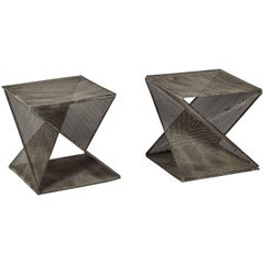 Pair of Mathieu Matégot Style Geometric Side Tables