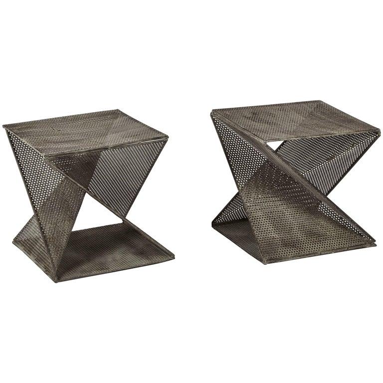 Pair of Mathieu Matégot Style Geometric Side Tables For Sale