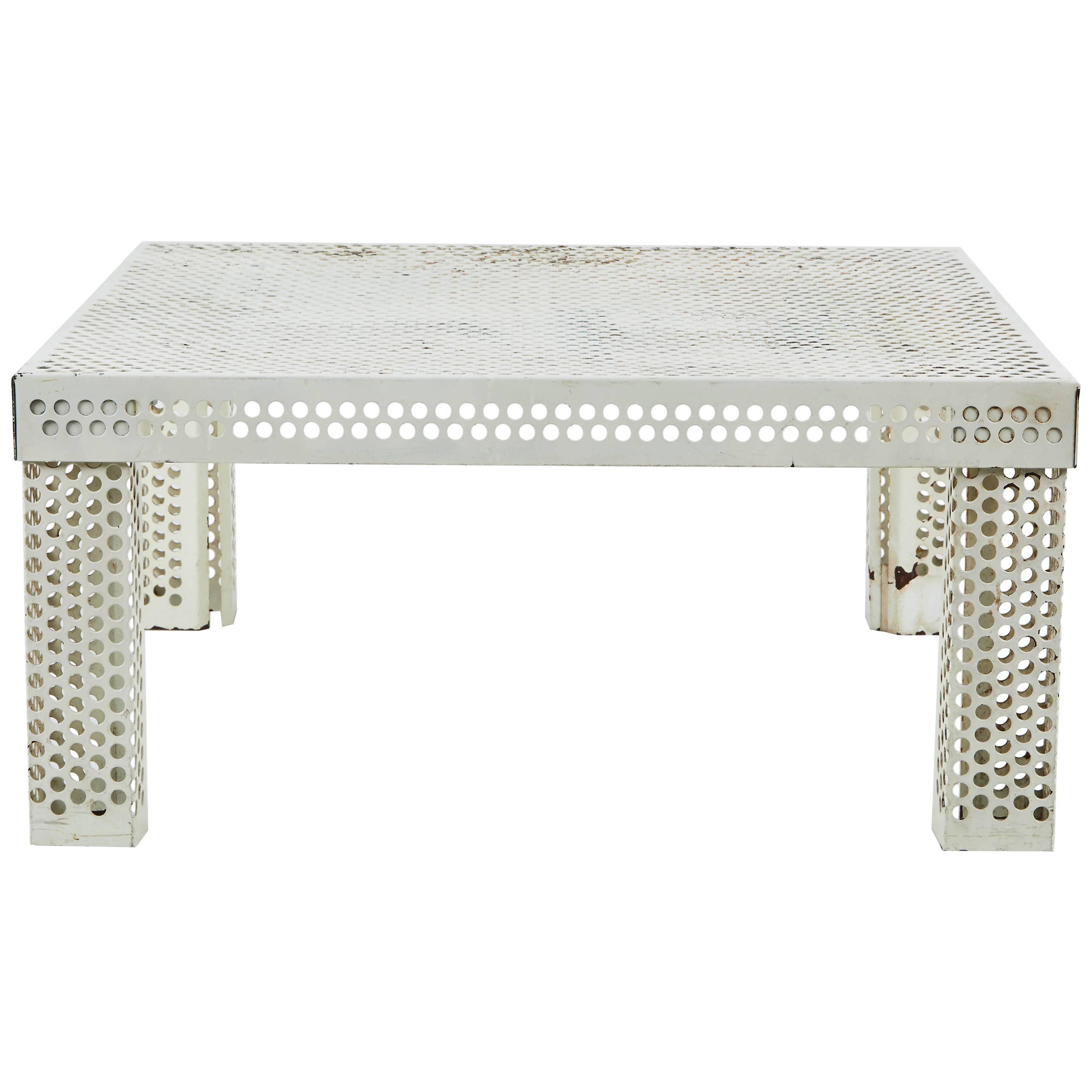 Mathieu Matégot Style Perforated White Metal Coffee Table