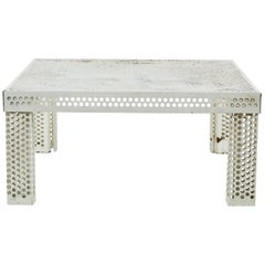 Mathieu Matégot Perforated White Metal Coffee Table