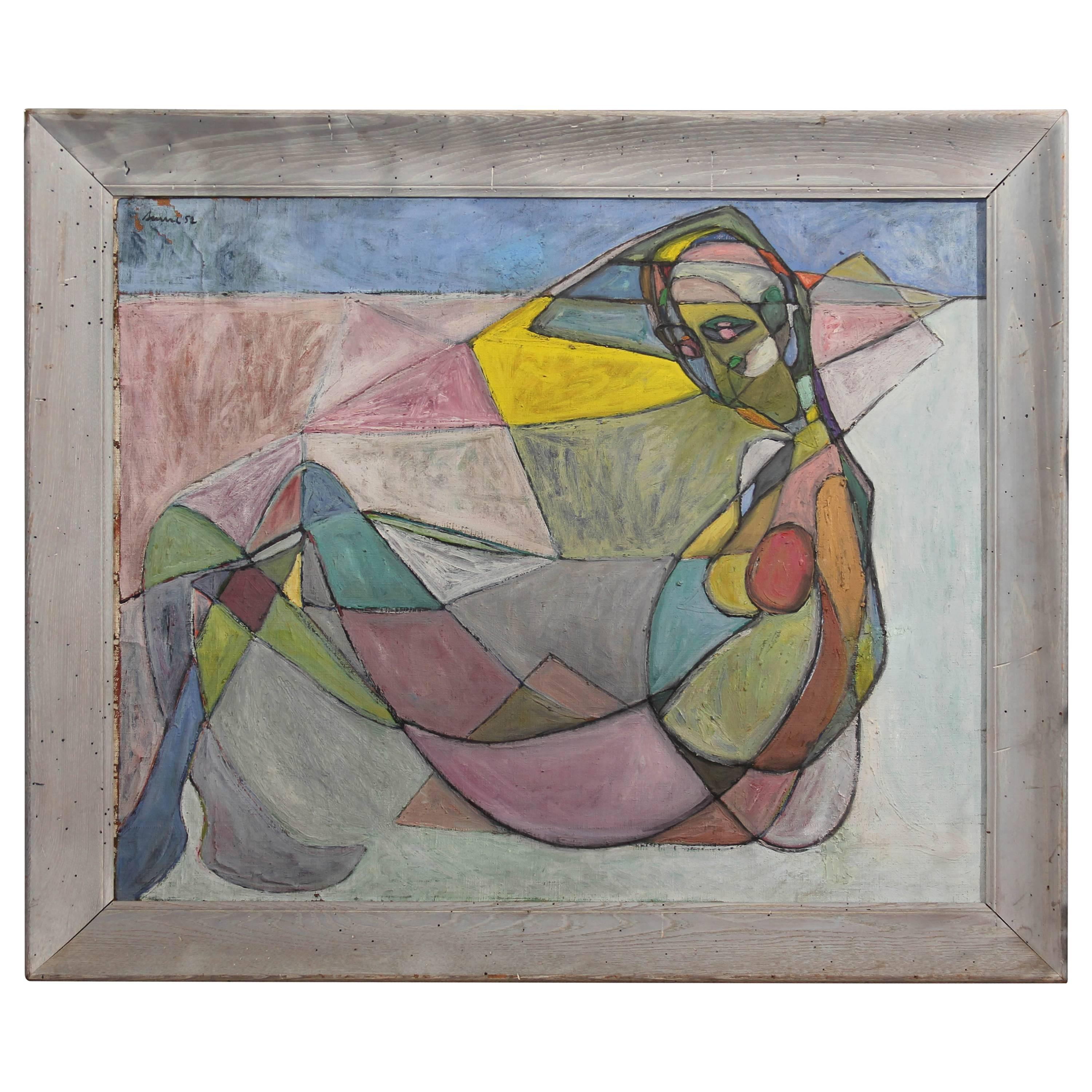 Large Midcentury Abstract in Blue Frame