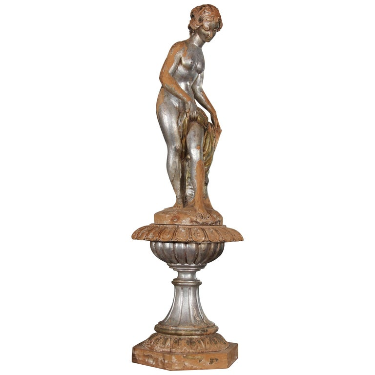 Carved Wood Female Nude Statue