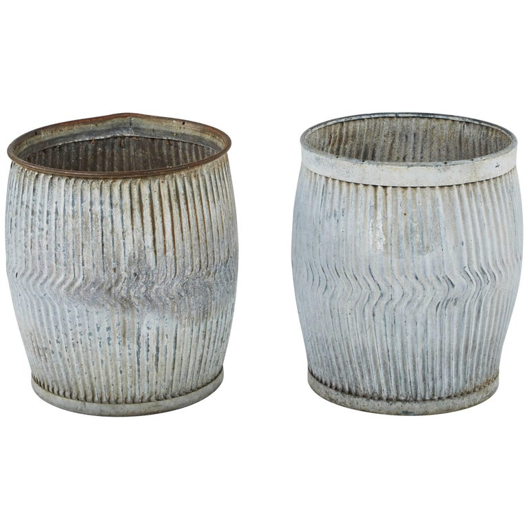 Pair of English Zinc Garden Pots, Early 1900s
