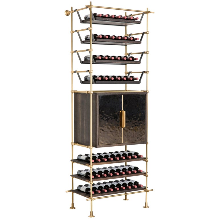 Amuneal's Collector's Wine Shelving and Storage Unit with Brass Clad Cabinet