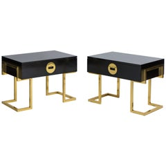 Romeo Rega Pair of Sculptural Bedside or End Tables, Italy, 1970s