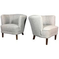 Pair of Danish Mid-Century Club Chairs, New Halingdal Upholstery