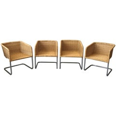 Fabricius & Kastholm Style Wicker and Chrome Cantilever Chairs, Set of Four