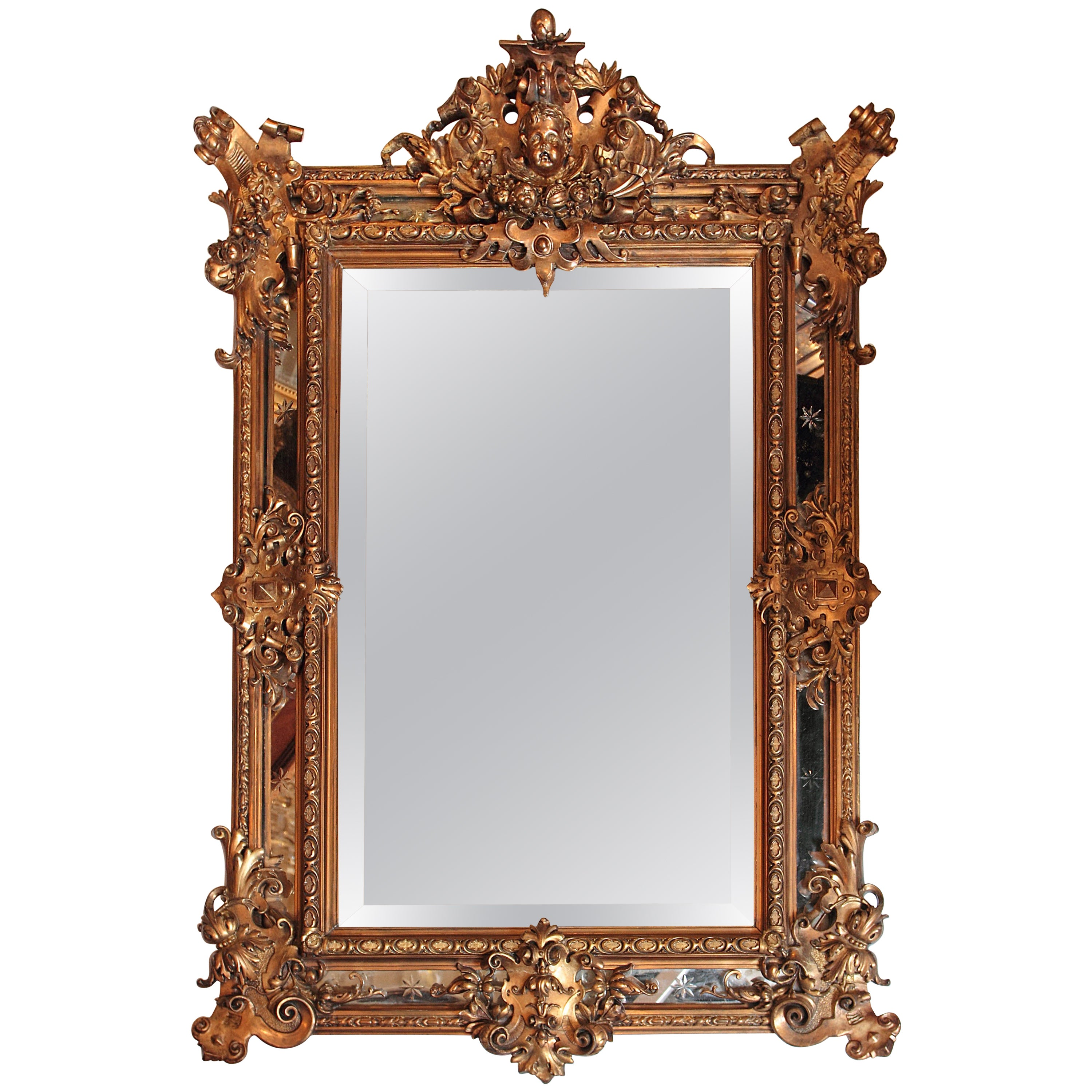 19th Century French Louis Philippe Gilt Carved Mirror