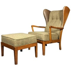 """Danish """"Jum"""" Wingback Chair and Ottoman 1940, Harris Tweed and Leather"""