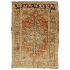 Vintage Turkish Oushak Rug with Stylized Floral Motifs in Red, Gray and Cream