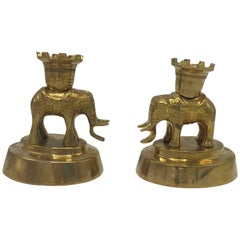1970s Mottahedeh Brass Elephant Sculpture Candlesticks, Pair