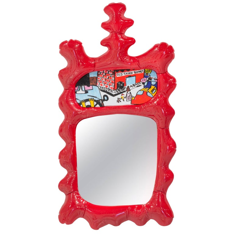 Misha Kahn, Red Wall Mirror, Resin, Automotive Paint For Sale at 1stdibs