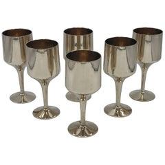 1970s Italian Brass Goblet Wine Glass, Set of Six
