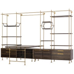Amuneal's Collector's Desk and Office System in Oxidized Oak and Warm Brass