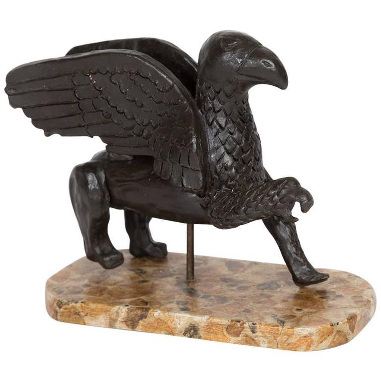 Antique Ceramic Painted Sphinx For Sale
