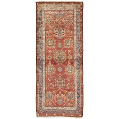 Vintage Turkish Oushak Gallery Runner with Scattered Floral Design in Red & Gold
