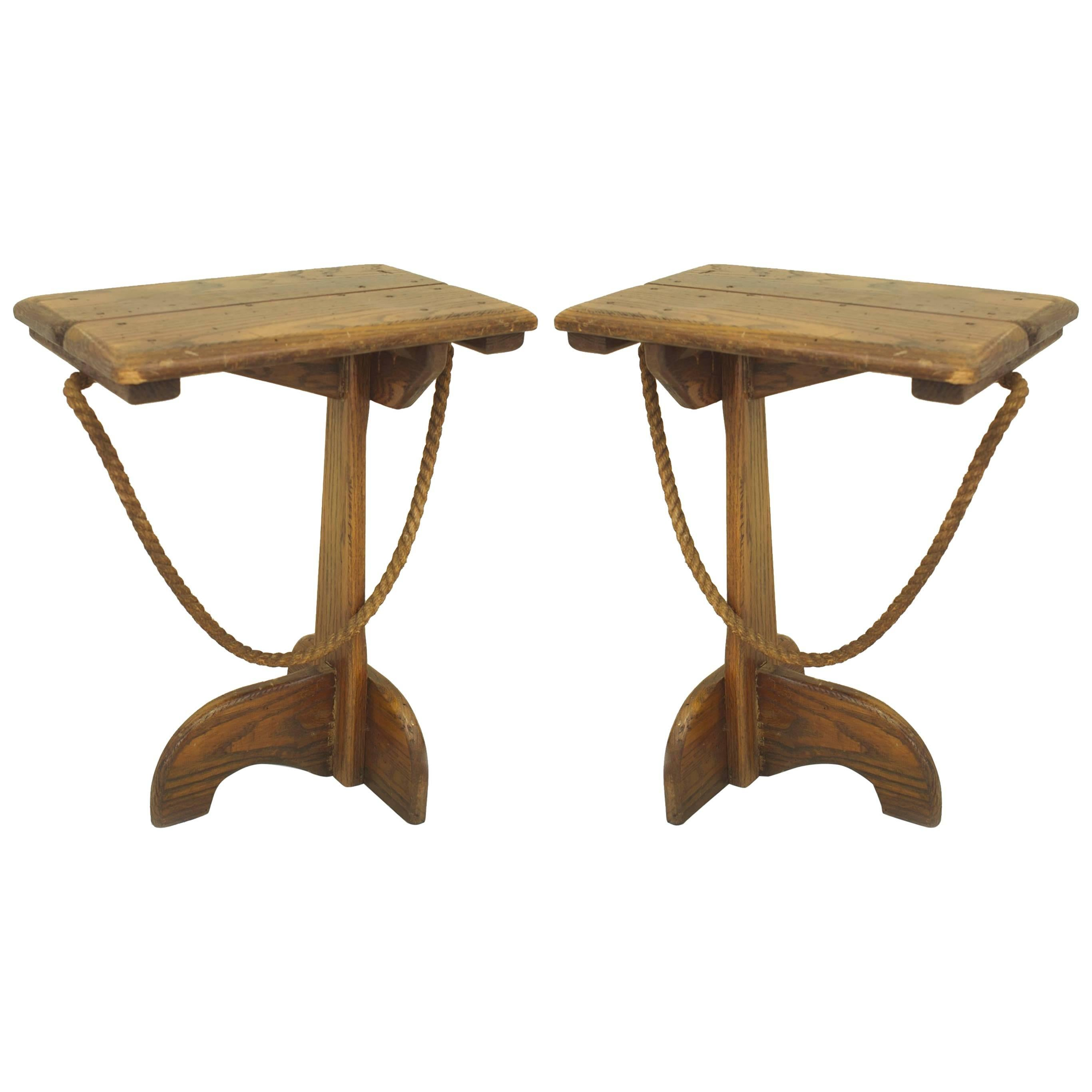 Pair Of American Rustic Old Hickory Pub Style End Tables