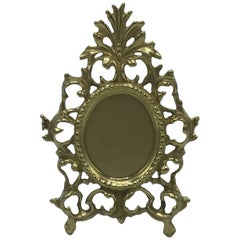 1980s Virginia Metal Crafters Brass Rococo Style Picture Frame