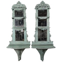 Italian Carved Painted Rococo Style Consoles and Mirrors, Pair