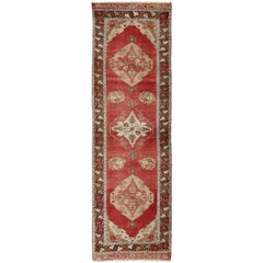 Midcentury Vintage Turkish Oushak Gallery Runner with Elegant Red Medallions