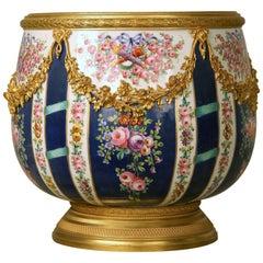 Fine Late 19th Century Gilt Bronze-Mounted Sèvres Style Porcelain Jardinière