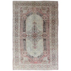 Early 20th Century Antique Turkish Sivas Rug with Delicate Pink Center Medallion