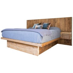 Rustic Modern Bed with Concealed Storage in Reclaimed Pine and Polished Brass